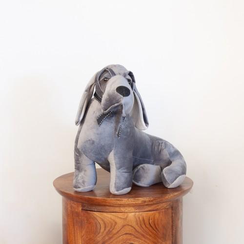 Grey Velvet Beagle Doorstop 27485