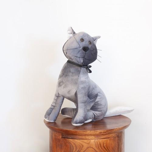 Grey Velvet Cat Doorstop 27484