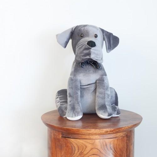 Grey Velvet Dog Doorstop 27483