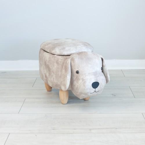 Storage Footstool Dog Brown 25654