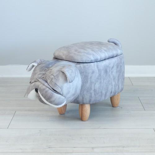 Storage Footstool Grey Dog 25653